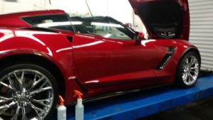 sports car getting paint protection film